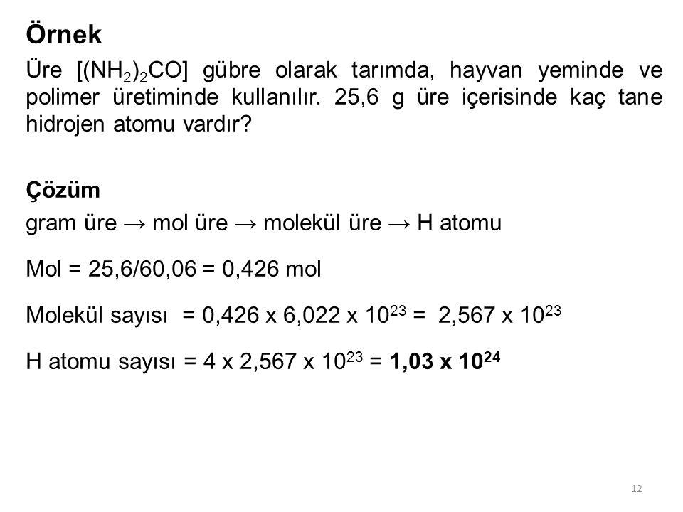 Örnek Üre [(NH2)2CO] gübre olarak tarımda, hayvan yeminde ve polimer üretiminde kullanılır. 25,6 g üre içerisinde kaç tane hidrojen atomu vardır